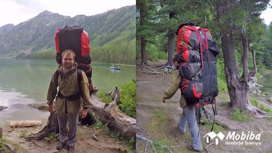 14. Экспедиция на Мультинские озера 2019 - переноска палатки Роснар Р-34 на одних плечах.jpg